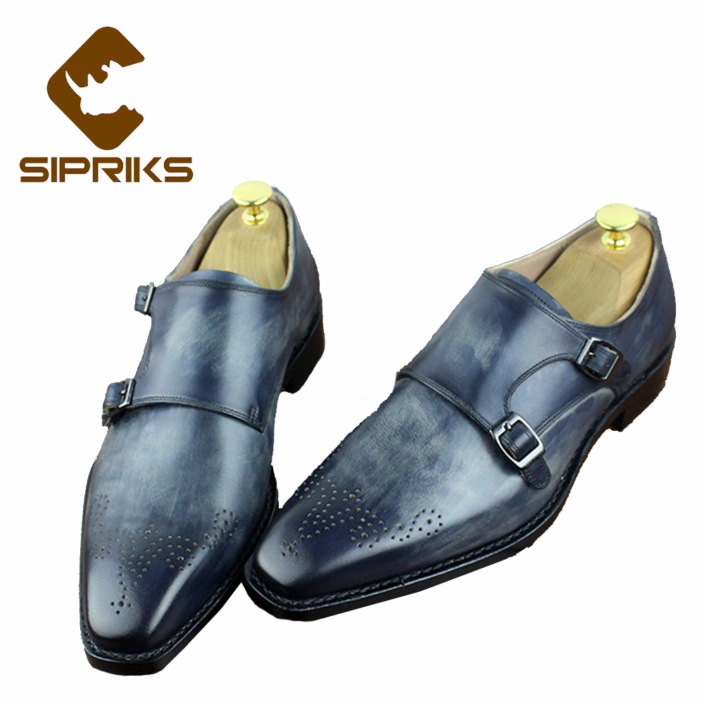 SIPRIKS Luxury Mens Goodyear Welted Dress Shoes Gray Double Monk Straps Square Toe Formal Tuxedo Shoes Italian Suits Men Shoes sipriks mens goodyear welted shoes italian hand made men s crocodile leather suits men shoes boss dress shoes blue tuxedo shoes