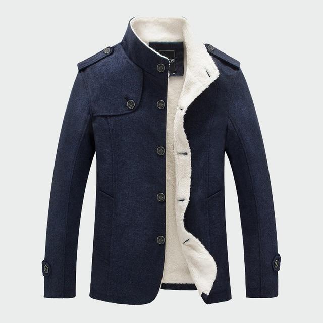 Homens Casaco de inverno de Moda Com Forro de Lã Grossa Quente de Lã Casacos de Outono Casacos De Lã Mistura Casaco Masculino dos homens de Roupas de Marca ML048