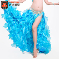 10 Colors Professional Belly Dance Costume Waves Skirt Dress With Slit Skirt Women Oriental Belly Dance