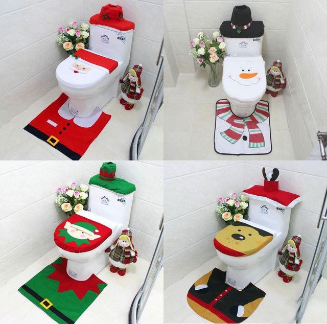 New Brand 3Pcs Set Bathroom Christmas Toilet Seat Cover Decorations For Home Santa Snowman