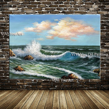 Aritist Hand painted Sunset Sea Beach Oil Painting on Canvas Ocean Wave oil painting Contemporary Art Modern art Wall Decoration