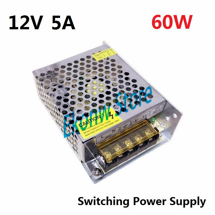 60W 12V 5A Switching Power Supply Factory Outlet SMPS Driver AC110-220V to DC12V Transformer for LED Strip Light Module Display 800w 12v switching power supply driver for led light strip display ac to dc smps 220 to 12v adapter cnc transformer