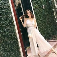 Summer dress 2019 patchwork lace long party dress sleeveless sling white dress slim prom women's dresses woman party night