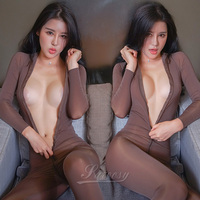 2017 New Sexy Lingerie For Women Full Zipper Bodysuit See Through Teddy Erotic Lingerie Catsuit Sexy