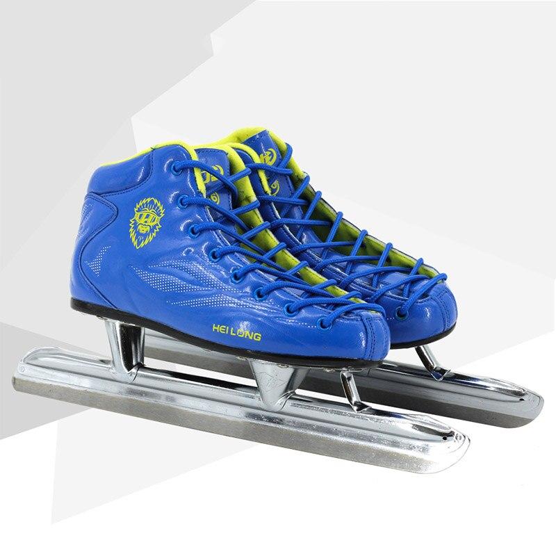 Chaussures de patinage à lame de glace à rayon bleu Japy Skate métal Long Tube couteau patins de course Patines chaudes confortables