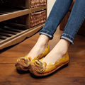 2017 New Women's Soft Genuine Leather Flat Shoes High Quality Vintage Ladies Handmade Casual Flats Flower Zapatos Mujer Female