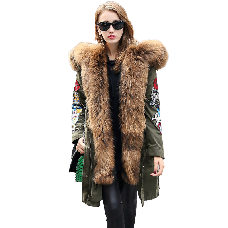 2017 High-end Luxurious Extra Large Raccoon Fur Thicken   Down     Coats   for Women Fashion Loose Parkas Snow Outerwears Hooded