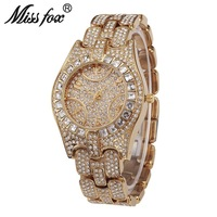 Quartz Watches Waterproof fashion wrist watches women diamond gold watch rinestone ladies watch luxury women golden silver