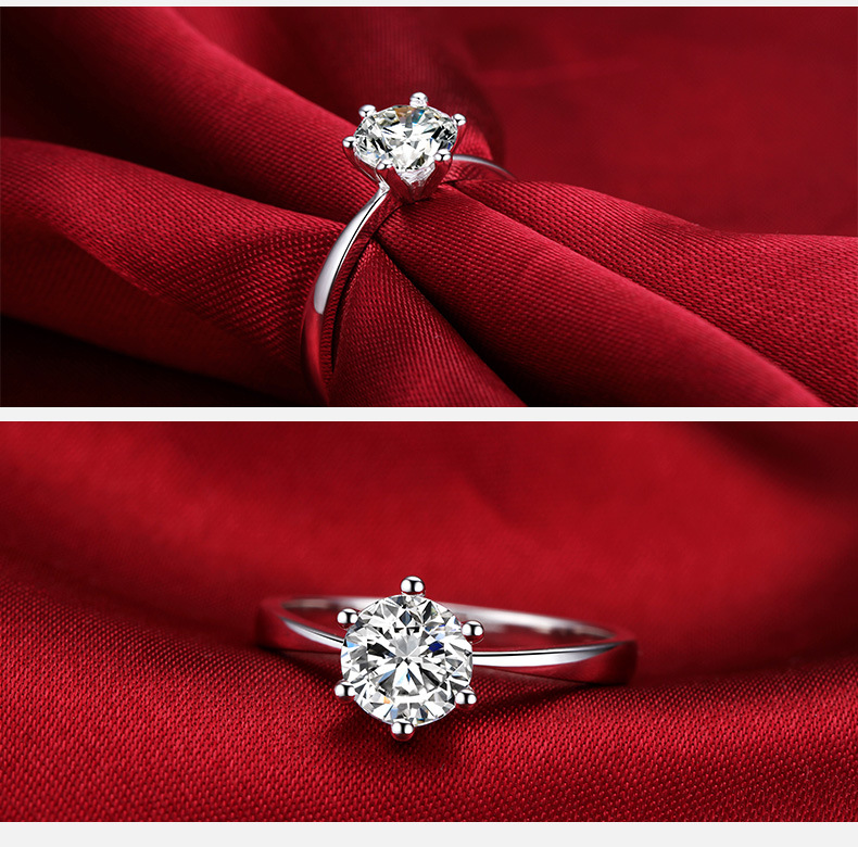 Classic Six Claw Gold Color Ring AAA Austria Crystal Wedding Ring for Bridal Christmas Gift for