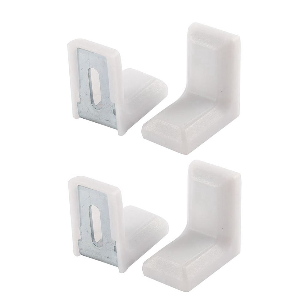 EWS-Cabinet 28mmx28mmx19mm Metal Plastic L Angle Bracket White 4Pcs