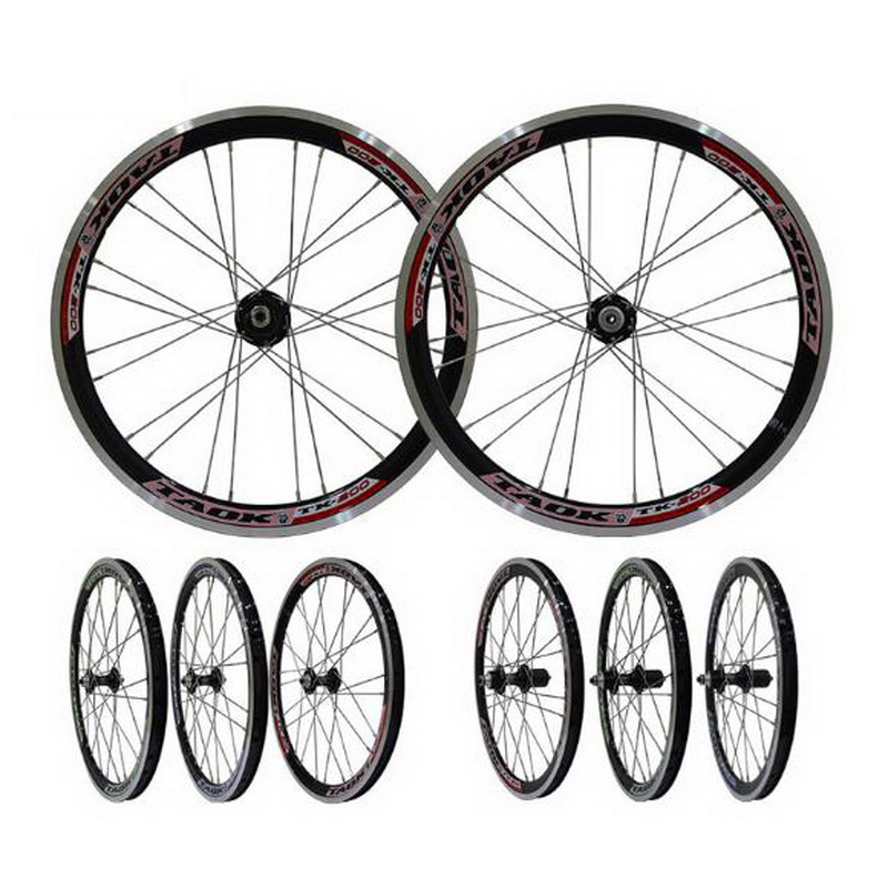 230916/Folding Wheel Group Bicycle Pine Flower Drum 20 inch aluminum alloy double V brake ring quick release type rim  aluminum wheels 20 hollow wheel bicycle one piece aluminum alloy wheel wire whole felly rim