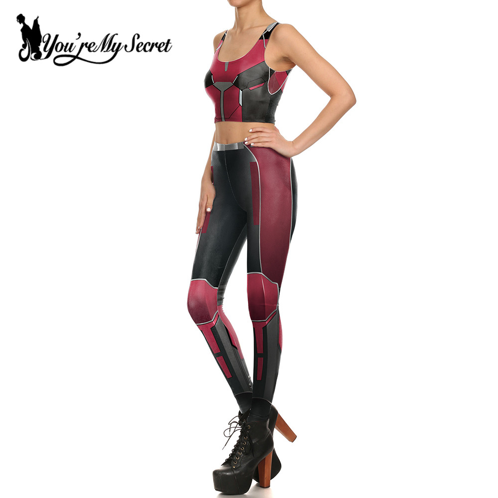 [You're My Secret] Fashion Red Armor Comic Cosplay Slim Leggings - Women's Clothing - Photo 2
