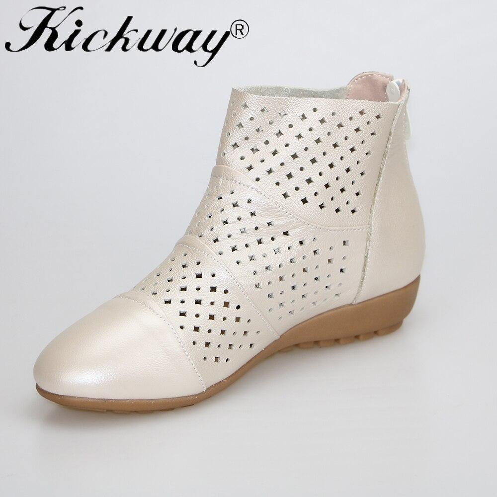 Kickway Women summer boots Plus size 34 43 44 Cut outs flat shoes women Genuine leather shoes women round toe cool shoe women