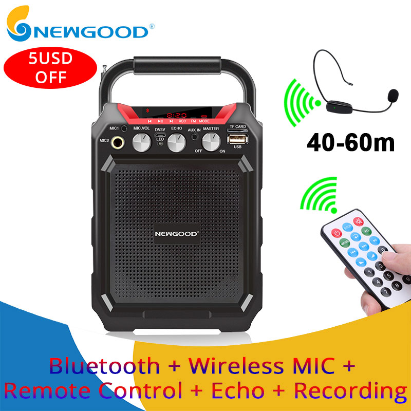 Portable Wireless Voice Amplifier with Wireless Microphone Bluetooth Speaker Megaphone For Teacher Guide TF USB disk Recording voice amplifier megaphone booster microphone mini portable speaker with usb tf card fm radio for teacher tour guide promotion