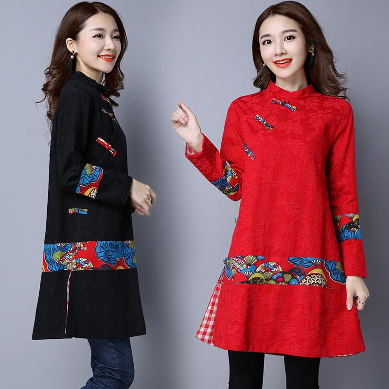Jacket Dress Black Autumn Coat Winter Print Trech Outwear Hj70 Women Size For red Casual Linen Long Plus Style Cotton Chinese 6x6rZgU