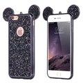 Paillettes glitter case para iphone 7 7 plus 6 6 s plus 5 5S se casos de coques para iphone 7 orelhas de mickey tpu silicone tampa do telefone bag