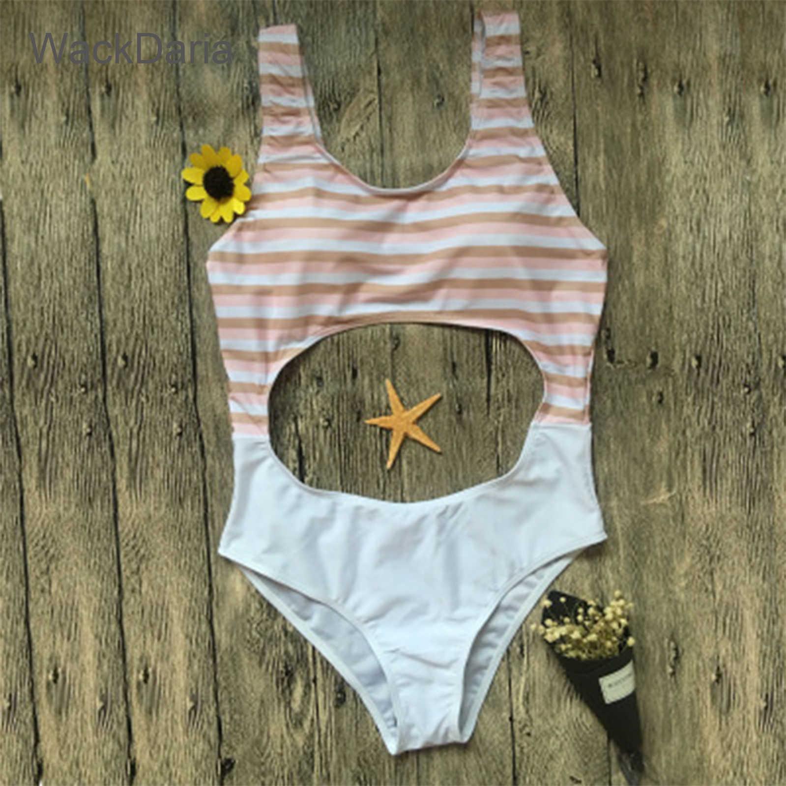 WackDaria sexy kobiet strój kąpielowy stroje kąpielowe z miękki biustonosz-pad maillot de bain femme brazylijski drążą styl brązowy/ proszę kliknąć na zielony pływanie