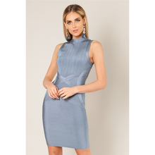 2019 Bandage Dress Women Rayon Grey Vestido Sheath High End Summer Office Wear Formal