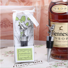 Love bird chrome wine bottle stopper 100PCS/LOT Wedding bridal shower party favor guest gif