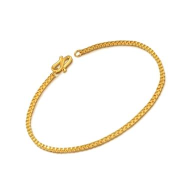 New 999 24K Yellow Gold Bracelet Women Box Chain Bracelet S Clasp 2.96g P6284 1