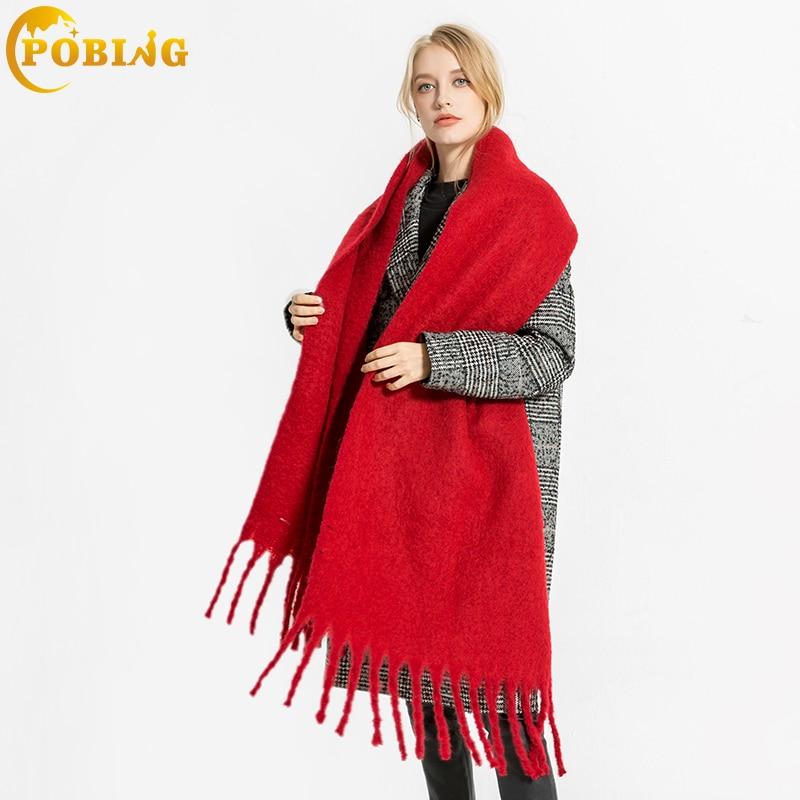 POBING New za Winter   Scarf   Women Solid   Scarves     Wraps   Soft Cashmere Wram Shawls Basic Acrylic Pashmina Lady Blanket Stole Ponchos