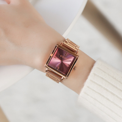 New Square Fashion Women Watches GUOU Analog Quartz Watch Women Luxury stainless steel Dress Watch Relogio Feminino Montre Femme new 3color changing led bulb headlight foglight h1 h3 h4 h7 h8 h9 h11 9005 9006 9012 880 881 3000k yellow 4300k warm 6000k white