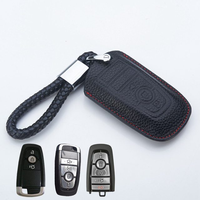 leather key fob cover  ford mondeo  fusion  edge explorer  accessories key holder