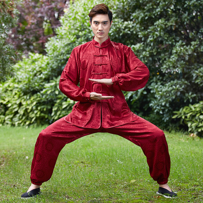 0fe5a15247 High Quality Red Chinese Men Kung fu Uniform Male Satin Tai Chi Suit  Novelty Wushu Set Size XXS To XXXL 2526-2