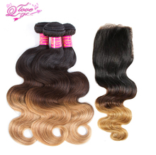 Queen Love Hair Peruvian Body Wave Human Hair Bundles Omber #1B/4/27 3Tone Non Remy Hair Weave 3 Bundles With Closure