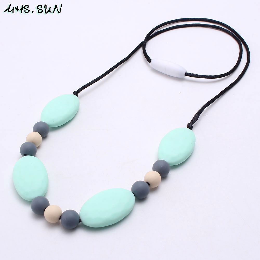 Silicone No BPA Pendant Necklace Teething Nursing Baby Teether Chewable Blue USA