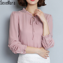 Spring Blouses Shirts Women Bow Ruffled Collor Long Sleeve casual shirt Ladies OL Office blouse Tops Plus size HB026
