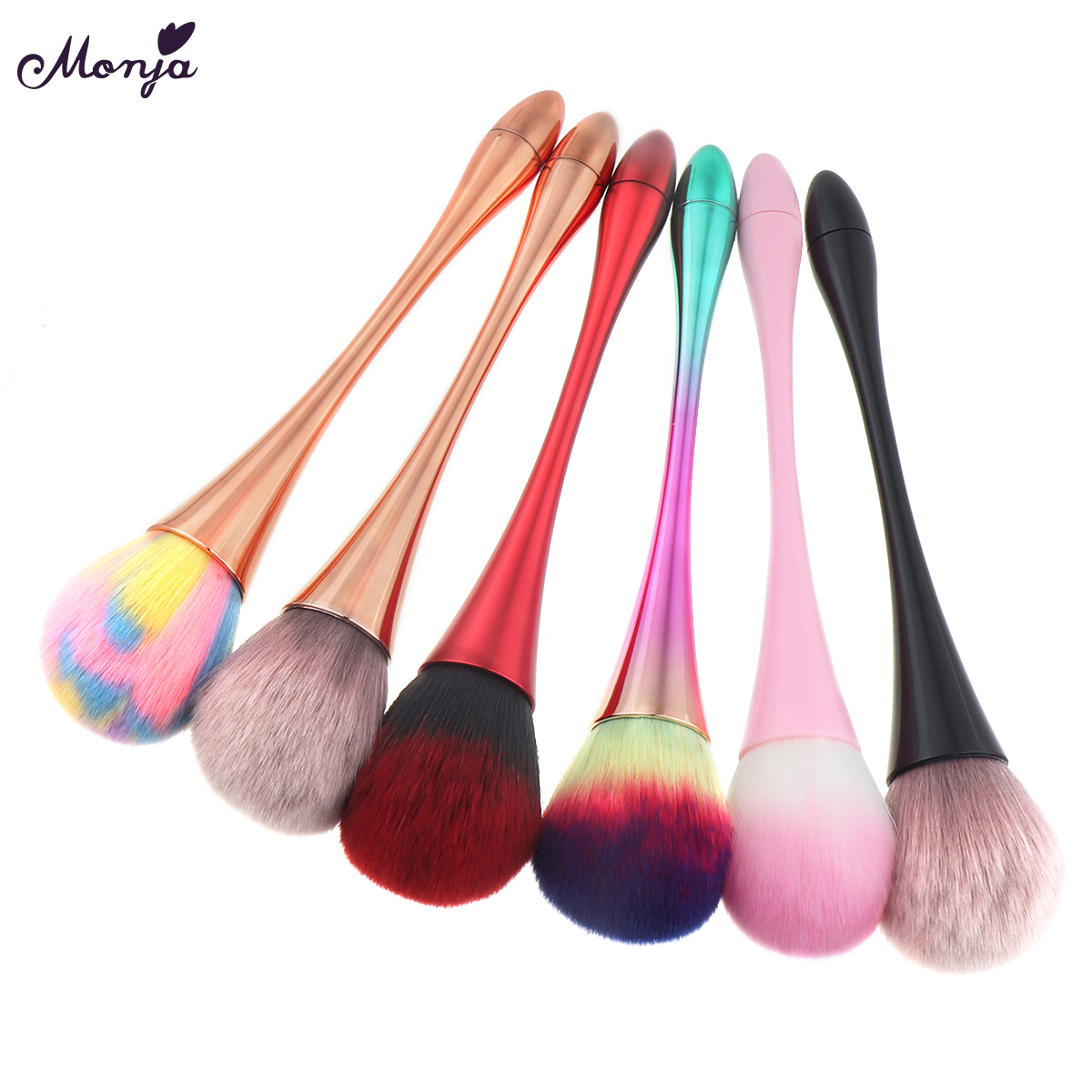 Monja Aluminum Handle Nail Soft Dust Cleaner Cleaning Brush Acrylic UV Gel Powder Removal Manicure Tool