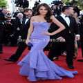 Lavender fashion celebrity dresses 2015 free shipping Mermaid red carpet dresses sexy backless ruffles skirt backless