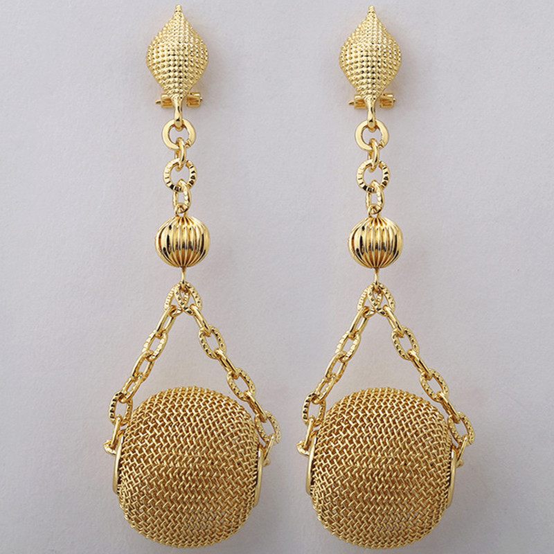 2017 Fashion Bridal Gift Nigerian Wedding African Big Long Drop Dangle Earrings Beads Jewelry Set Dubai Gold-color Jewelry Sets