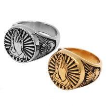 Золотые Молящиеся руки благословение перстень из нержавеющей стали религиозная девственница Mary кольцо помолвка обетование обручальное кольцо с сердцем SWR0827A