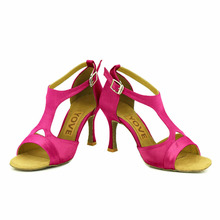 YOVE Dance Shoe Satin and Leather Women's Latin/ Salsa Dance Shoe 3.5″ Flare High Heel More Color LD-6145