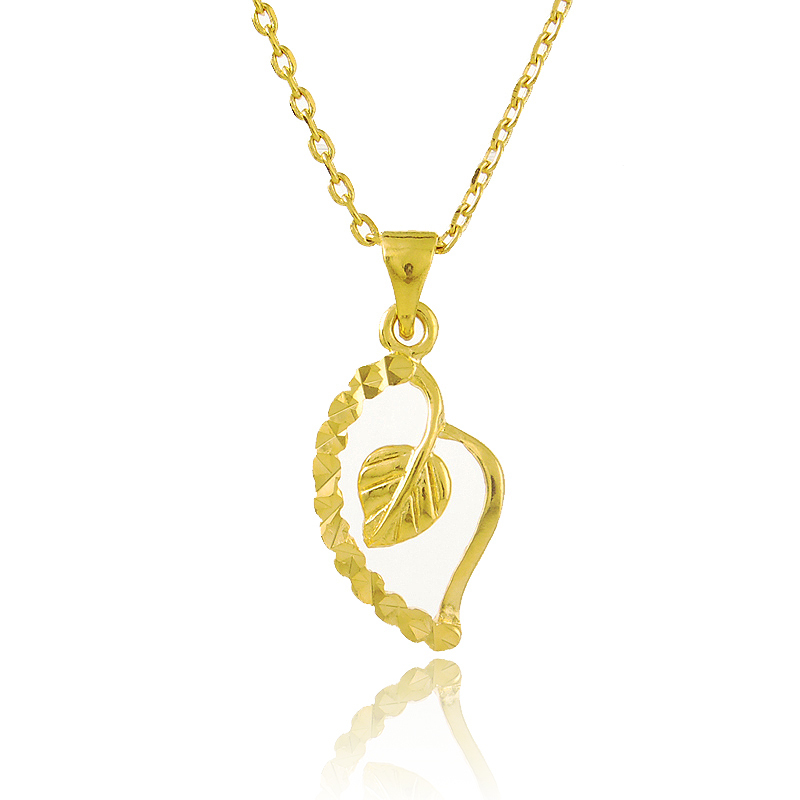 Unique Design 24K Gold Colou Pendant Necklace With Love Heart And ...