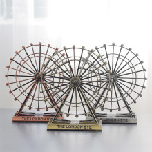 European wrought iron Ferris wheel ornaments creative home living room metal crafts storefront desk decorations american country wrought iron wood console table desk side table living room entrance metal crafts