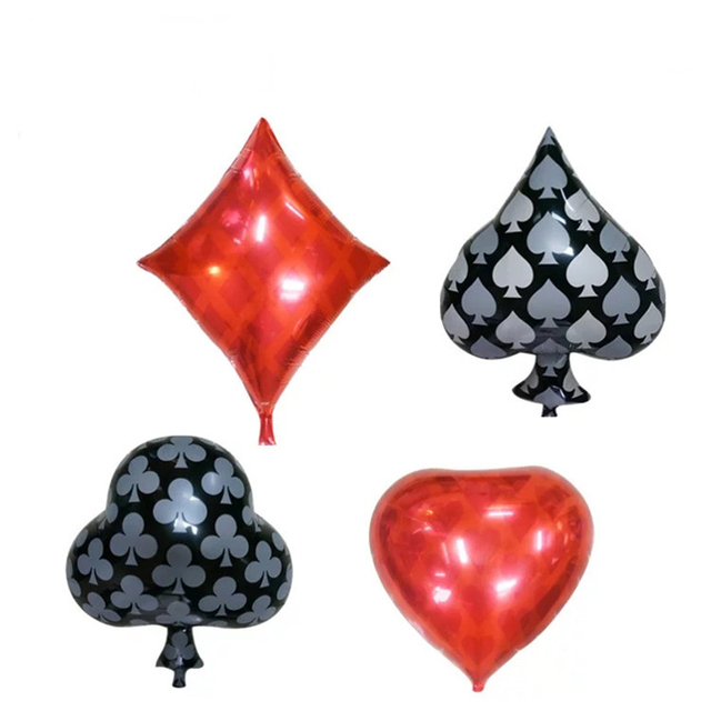 4pcs Clubs Diamonds Spades Hearts Foil Balloon Casino Cards Dice Poker Party Supplies Decorations Playing Cards Balloons