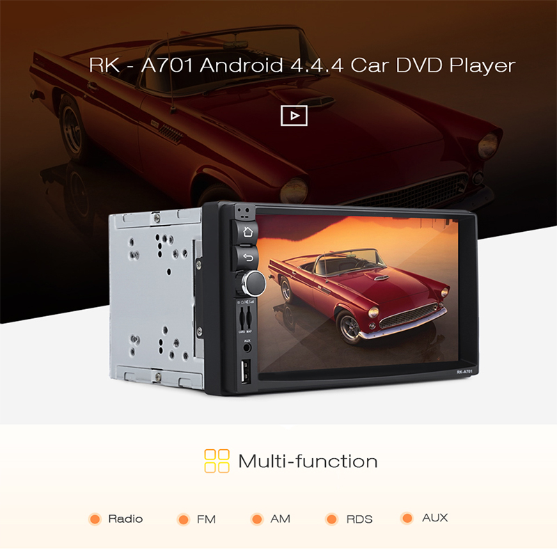 RK A701 Android 4.4.4 7 Inch Car Multimedia Player DVD Player Touch Screen 1028 x 600 Bluetooth Wifi GPS Radio Audio Recording