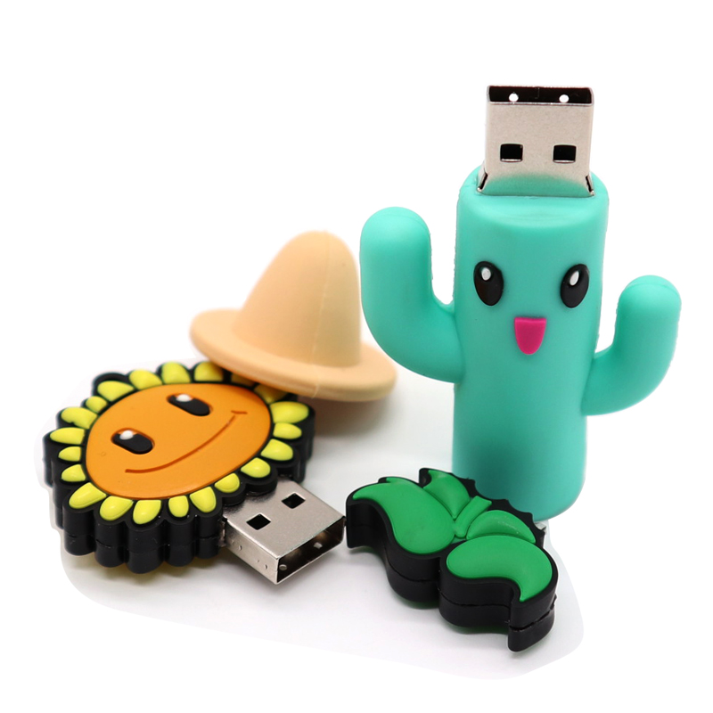 New Pendrive 128GB Pen Drive 64GB Cartoon Usb Flash 8GB Memory Stick Cactus And Sunflower Style Memory Disk Free Shipping