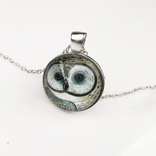 2017 Hot-Selling Glass Cabochon big eye Owl Pendant  Necklace Jewelry Silver Sweater Necklace Cool Fashion Style Fine Jewelry