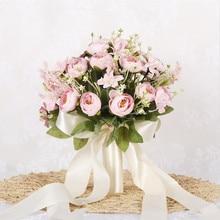 High quality Bridal Bouquet European chaise longue roses, fake flowers, home decoration, emulation, wedding bouquet