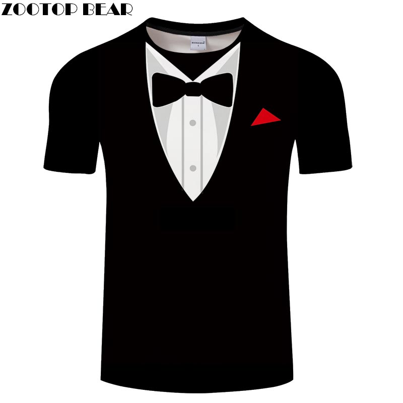 Bow Tie 3D T Shirts Travel Tshirts Men Vacation T-shirt Top Tees Short Sleeve Travel Shirt Streetwear 6XL Dropship ZOOTOPBEAR