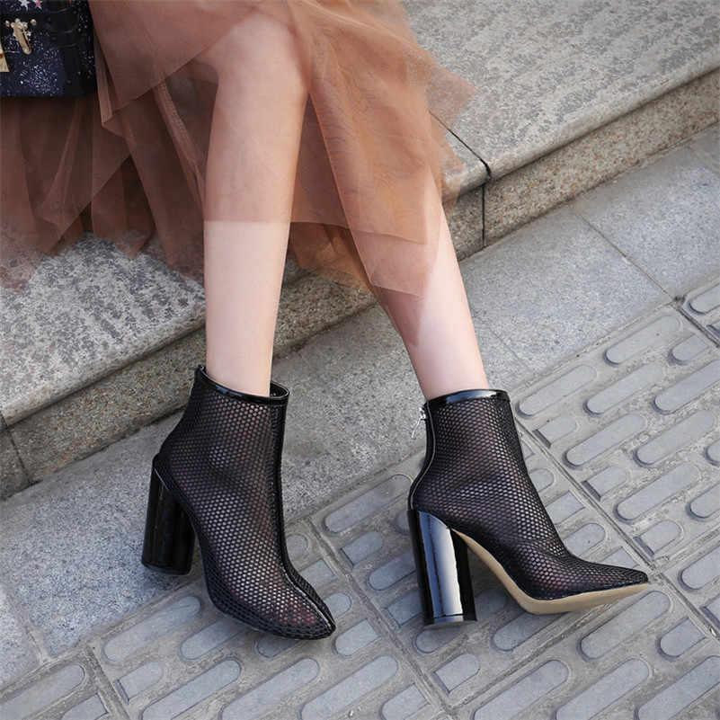 FEDONAS קיץ חדש נשים קצרות מגפי אופנה תמציתי Mesh הולו גבוהה עקבים נעליים יומיומיות אישה קיץ עבודה בסיסית נעליים