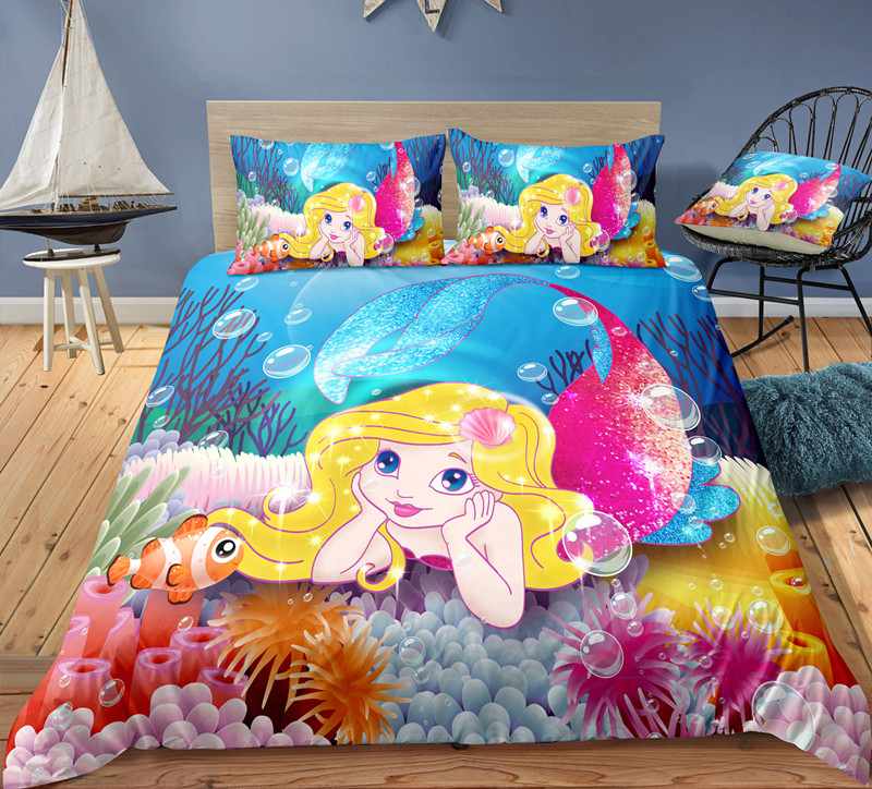 Fanaijia 3d Kids Bedding Sets Luxury Duvet Cover With Pillowcase Cartoon Little Mermaid Bed Set Girl's Gift
