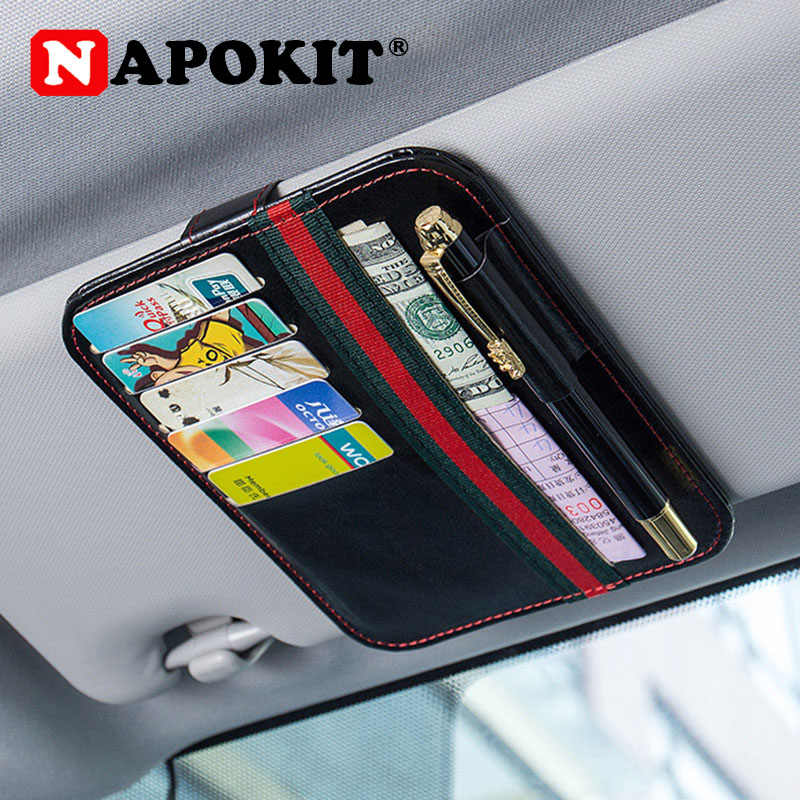 Top Universal Car Sun Visor Card Case Holder Organizer Clipper Hold Pen Money Ticket Bag Hanger Car-Styling Auto Stowing Tidying