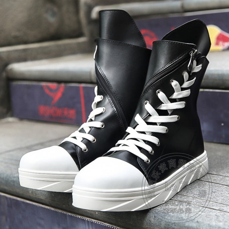 Bandage Preppy Pu Street Fashion Korean Fitness Platform Round Toe Funky Hip Hop Youth White Boots Breathable Thread Booties