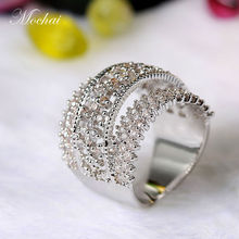 Mocai Vintage Hollow Cubic Zirconia Wide Big Rings for Women Gold- Color Luxury Shining Engagement Ring Femal Charm Jewelry ZK30