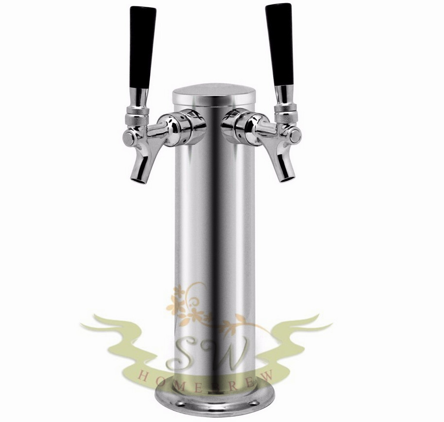 Keg Works 3 Chrome Double Tap Draft Beer Tower 2 Faucet For Keezer Kegerator 12 Tall Ctd On